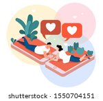 Virtual love isometric composition, man and woman standing on smart phone screen. Virtual love isometric background with man and woman during romantic relationships in internet space