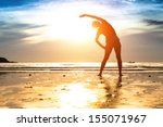 silhouette young woman ... | Shutterstock . vector #155071967