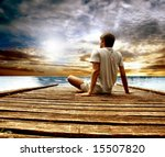 a young man on a wharf | Shutterstock . vector #15507820
