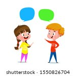 cartoon boy and a girl talking... | Shutterstock .eps vector #1550826704