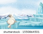 scene with white seal on ice...   Shutterstock .eps vector #1550864501