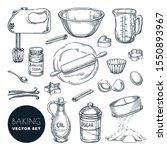 baking ingredients and kitchen... | Shutterstock .eps vector #1550893967