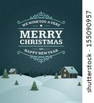 christmas greeting card vintage ... | Shutterstock .eps vector #155090957