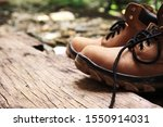 Leather Work Boots On Rough Old ...