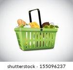 green plastic basket with food | Shutterstock .eps vector #155096237