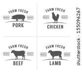 set of vintage butchery meat... | Shutterstock .eps vector #155096267