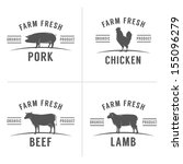 set of vintage butchery meat... | Shutterstock . vector #155096279