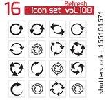 vector black refresh icons set | Shutterstock .eps vector #155101571
