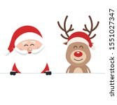 santa and reindeer cute cartoon ... | Shutterstock .eps vector #1551027347