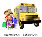 schoolchildren 3d and schoolbus | Shutterstock . vector #155104991