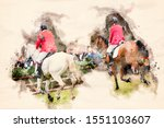 Watercolor Painting Of Riders...