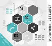 turquoise infographic hexagons... | Shutterstock .eps vector #155110517