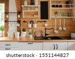Interior Of Kitchen In Rustic...