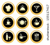 food and restaurant icons gold... | Shutterstock .eps vector #155117417