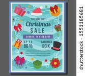 christmas poster sale with flat ... | Shutterstock .eps vector #1551185681