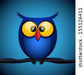 blue owl on the dark background.... | Shutterstock .eps vector #155126411