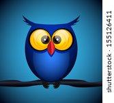 Blue Owl On The Dark Backgroun...