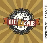 retro styled label of beer.... | Shutterstock .eps vector #155129741