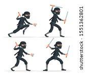Ninja japanese secret assassin sword character cartoon set stealthy sneaking isolated on white vector illustration