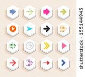 16 arrow sign icon set 01 ... | Shutterstock .eps vector #155144945