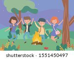 young people happy campfire... | Shutterstock .eps vector #1551450497