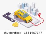 yellow taxi cab on smartphone ... | Shutterstock .eps vector #1551467147