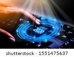 2020 finger press button start... | Shutterstock . vector #1551475637