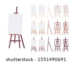 wooden easel stand set with... | Shutterstock .eps vector #1551490691