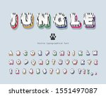 jungle 3d bright font. funny... | Shutterstock .eps vector #1551497087