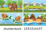 background scenes of animals in ... | Shutterstock .eps vector #1551514157