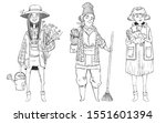farmer women set. cute cartoon... | Shutterstock .eps vector #1551601394