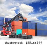 crane lifting up container in... | Shutterstock . vector #155166599