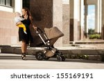 trendy modern mother on a city... | Shutterstock . vector #155169191