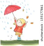 cute girl and red umbrella | Shutterstock . vector #155177861