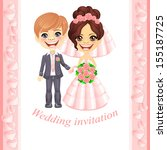 wedding invitation with cute... | Shutterstock . vector #155187725