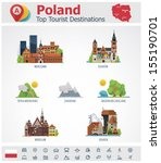 Vector Poland travel destinations icon set - stock vector