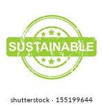 green sustainable stamp with... | Shutterstock . vector #155199644