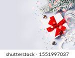 christmas gift box flat lay on... | Shutterstock . vector #1551997037