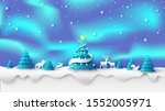 scenery of aurora light and... | Shutterstock .eps vector #1552005971