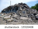 The Ruined house.The House after earthquake. The Island Sakhalin, city Nevelisk. - stock photo