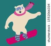 Polar Bear Glides On Snow On...