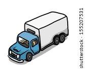 blue van container   cartoon... | Shutterstock .eps vector #155207531