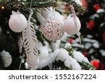 Christmas White Balls  Feather...