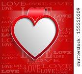 white heart on red background   ... | Shutterstock . vector #155220209