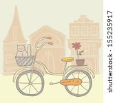 Cartoon Hand Drawn Bicycle Wit...