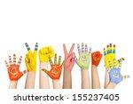 painted children's hands in... | Shutterstock . vector #155237405