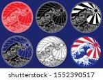 ocean wave line art... | Shutterstock .eps vector #1552390517