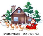 christmas scene with santa on... | Shutterstock .eps vector #1552428761