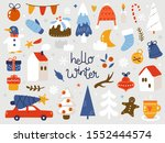 vector set of christmas and new ... | Shutterstock .eps vector #1552444574