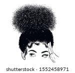 curly beauty girl illustration... | Shutterstock .eps vector #1552458971